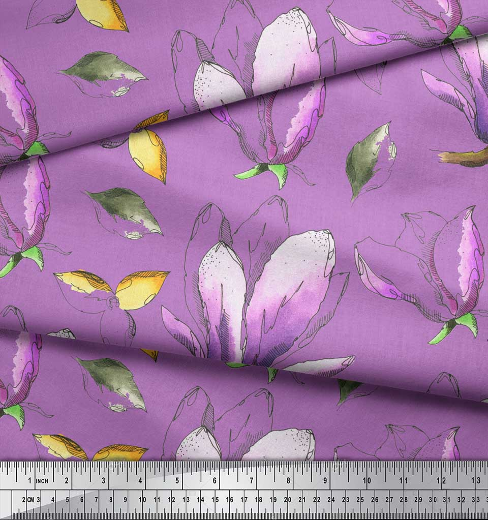 Soimoi-Purple-Cotton-Poplin-Fabric-Leaves-amp-Magnolia-Floral-Fabric-E2V thumbnail 4