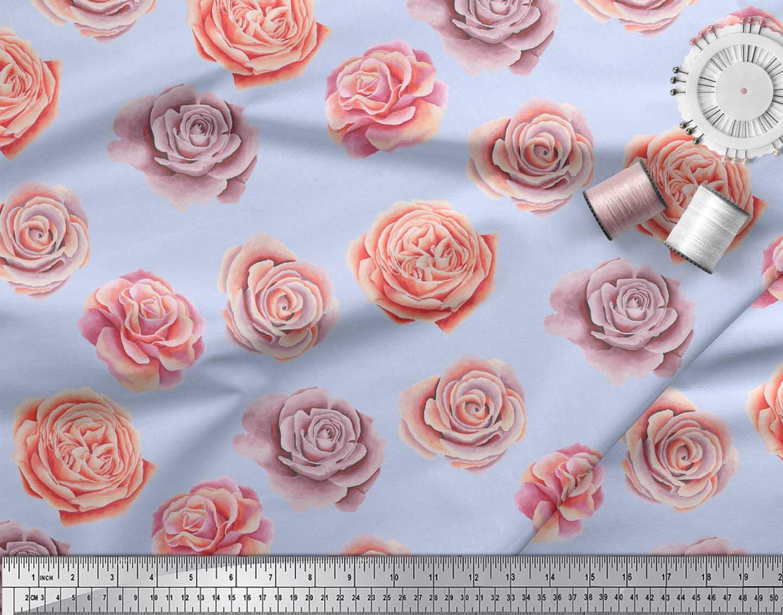 Soimoi-Blue-Cotton-Poplin-Fabric-Rose-Floral-Print-Fabric-by-metre-EGc thumbnail 3