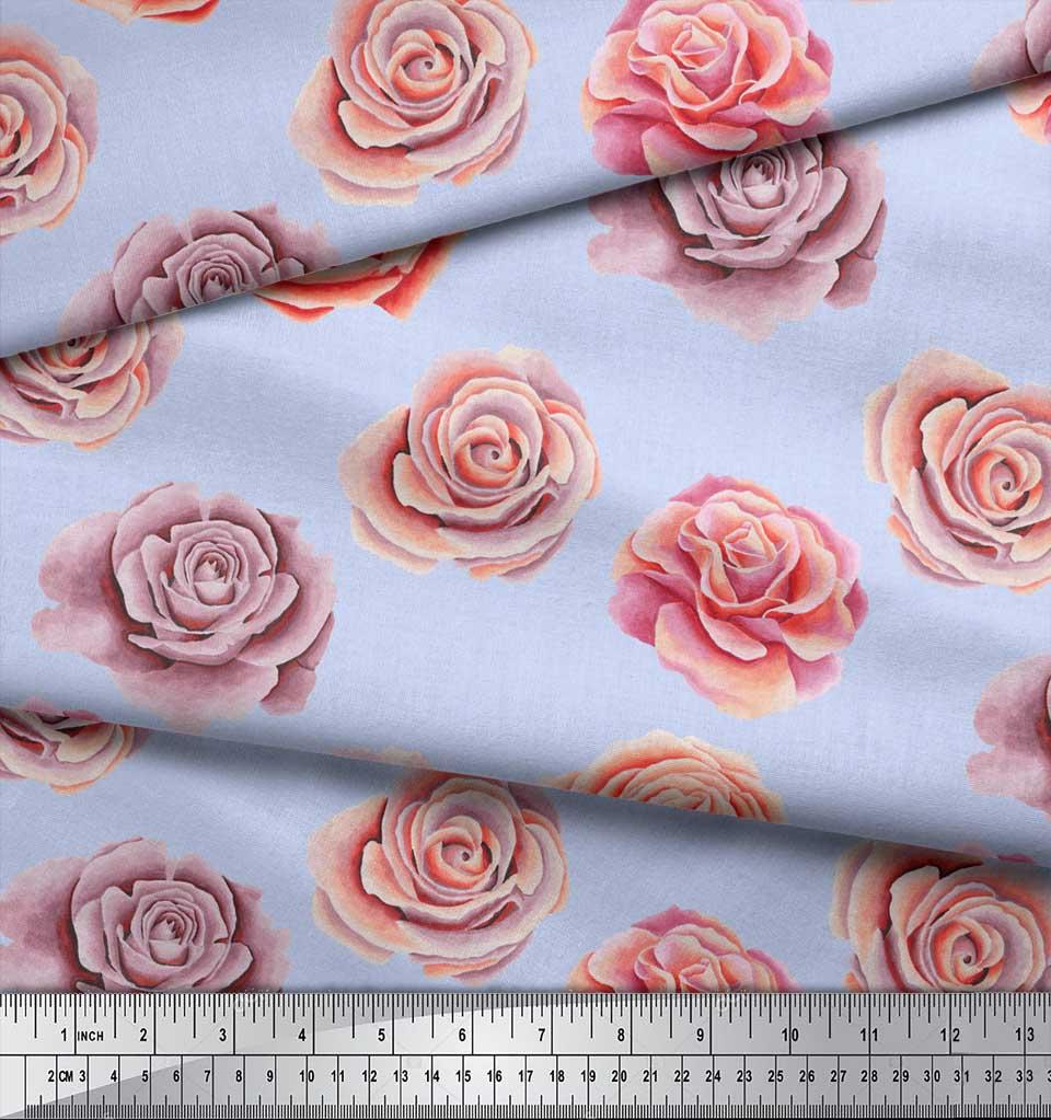 Soimoi-Blue-Cotton-Poplin-Fabric-Rose-Floral-Print-Fabric-by-metre-EGc thumbnail 4