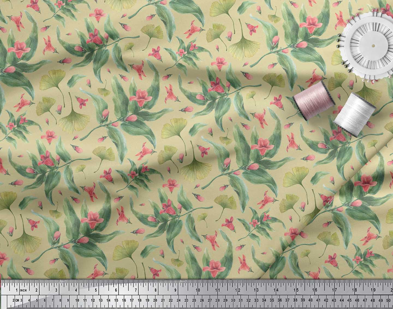 Soimoi-Beige-Cotton-Poplin-Fabric-Leaves-amp-Azalia-Floral-Printed-l05 thumbnail 3