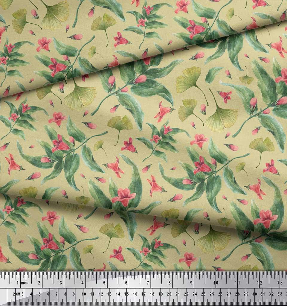 Soimoi-Beige-Cotton-Poplin-Fabric-Leaves-amp-Azalia-Floral-Printed-l05 thumbnail 4