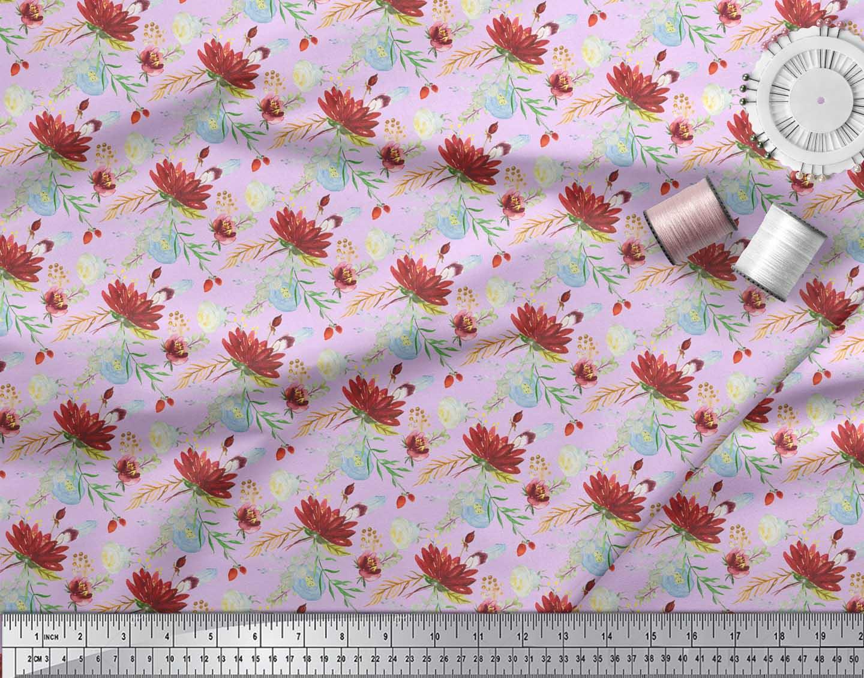 Soimoi-Purple-Cotton-Poplin-Fabric-Leaves-amp-Lotus-Floral-Decor-Fabric-tID thumbnail 3