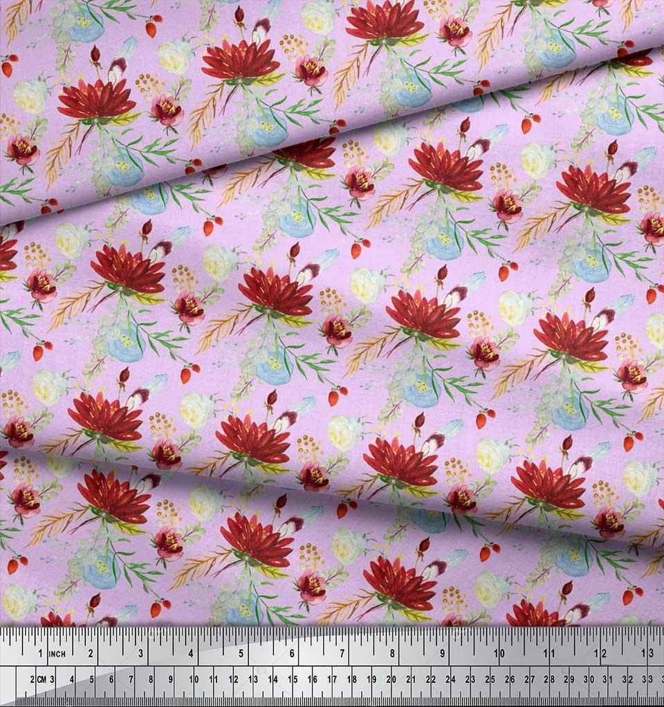Soimoi-Purple-Cotton-Poplin-Fabric-Leaves-amp-Lotus-Floral-Decor-Fabric-tID thumbnail 4
