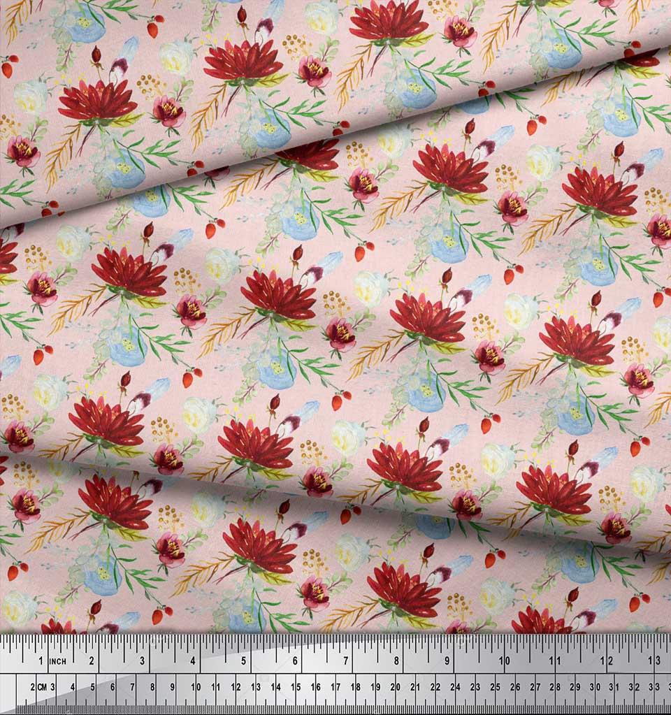 Soimoi-Pink-Cotton-Poplin-Fabric-Leaves-amp-Lotus-Floral-Print-Fabric-F2O thumbnail 3