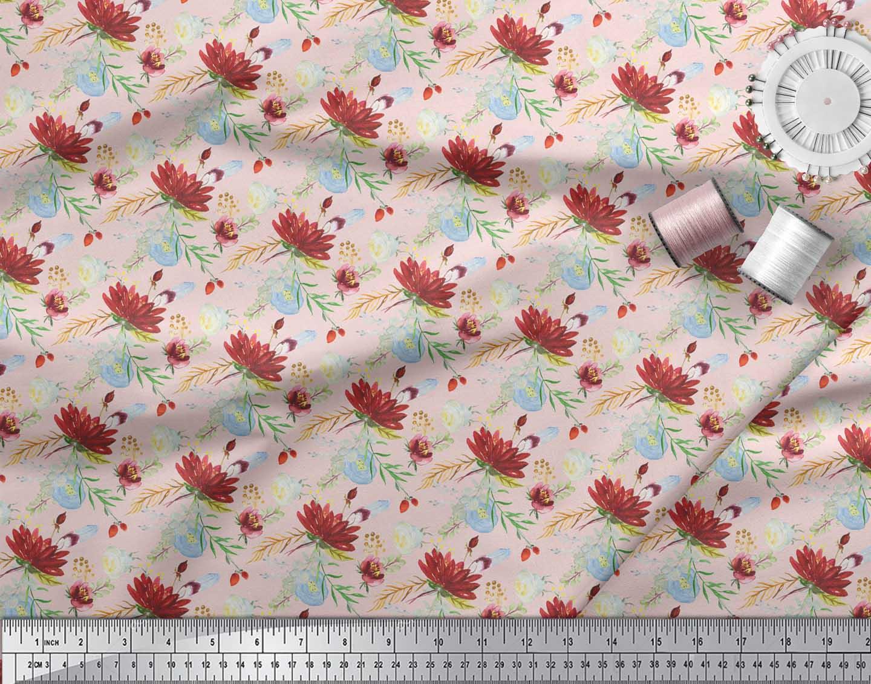 Soimoi-Pink-Cotton-Poplin-Fabric-Leaves-amp-Lotus-Floral-Print-Fabric-F2O thumbnail 4
