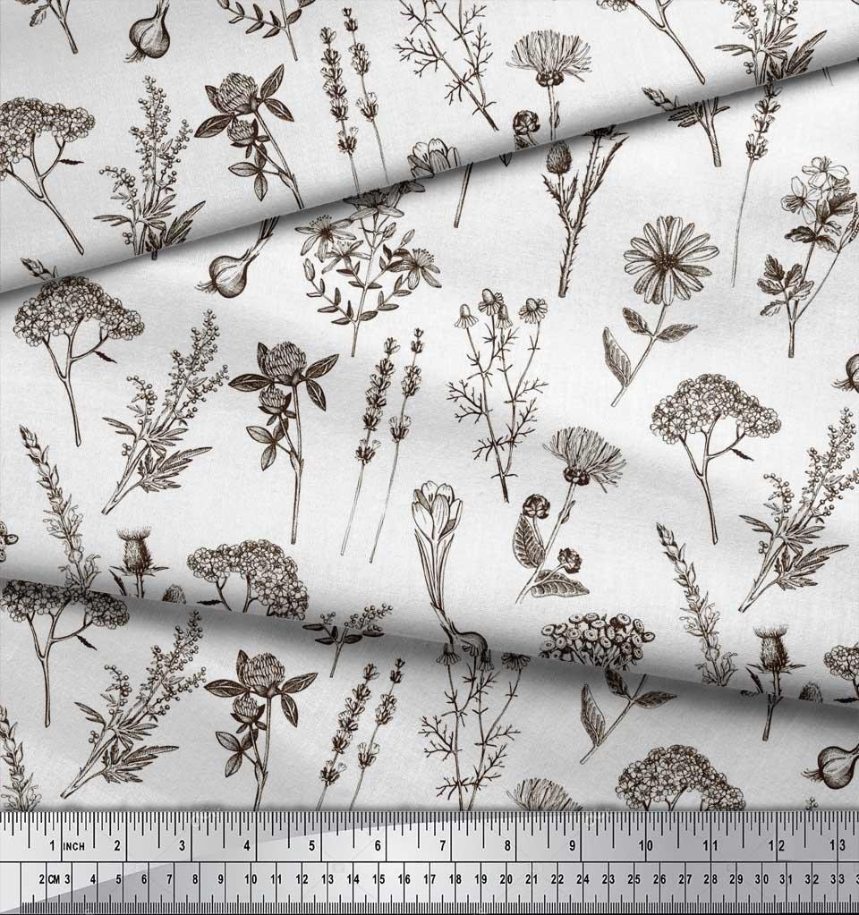 Soimoi-Brown-Cotton-Poplin-Fabric-Leaves-amp-Primrose-Floral-Printed-r1h thumbnail 4