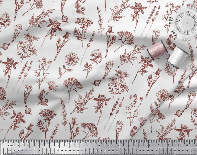 Soimoi-Red-Cotton-Poplin-Fabric-Leaves-amp-Primrose-Floral-Print-Fabric-ajr thumbnail 3