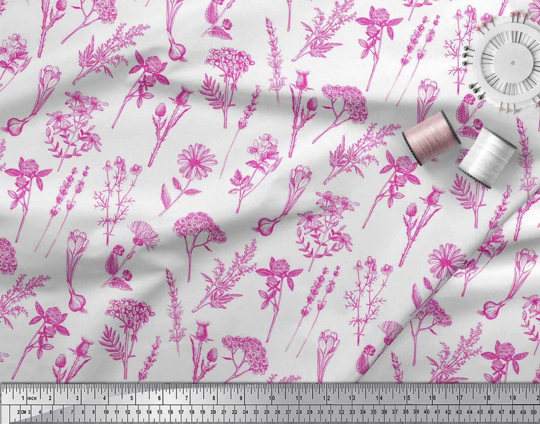 Soimoi-Pink-Cotton-Poplin-Fabric-Leaves-amp-Primrose-Floral-Print-nEA thumbnail 4