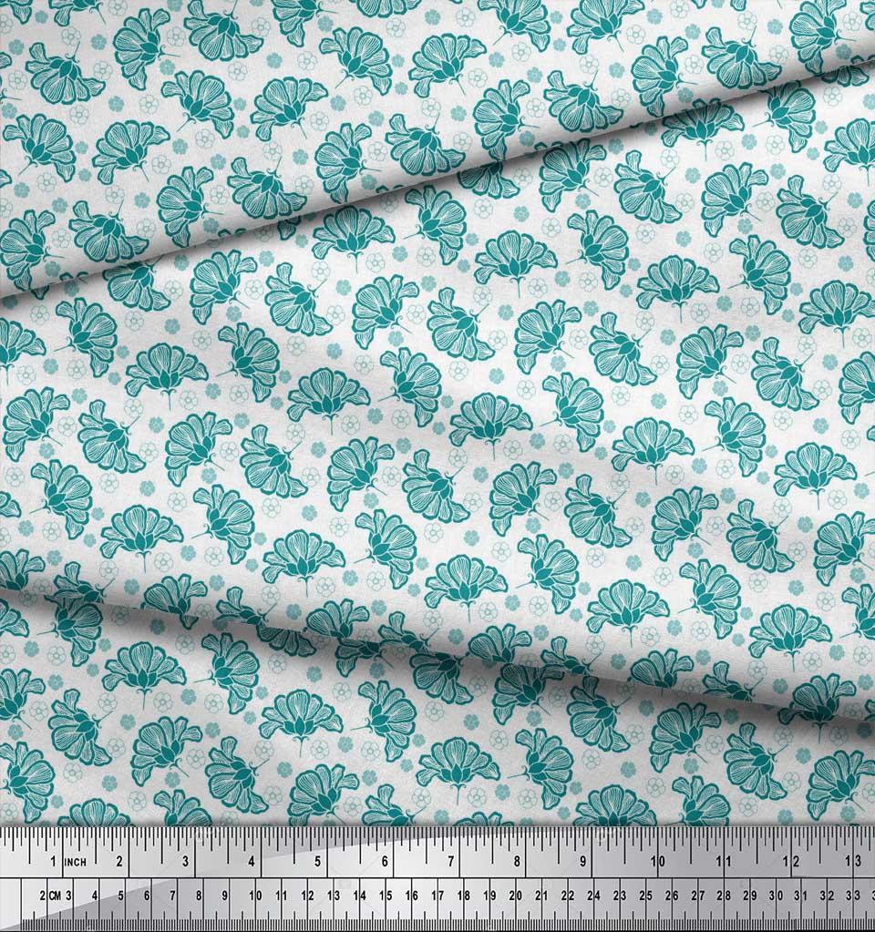 Soimoi-Green-Cotton-Poplin-Fabric-Artistic-Floral-Print-Fabric-by-fOh thumbnail 4
