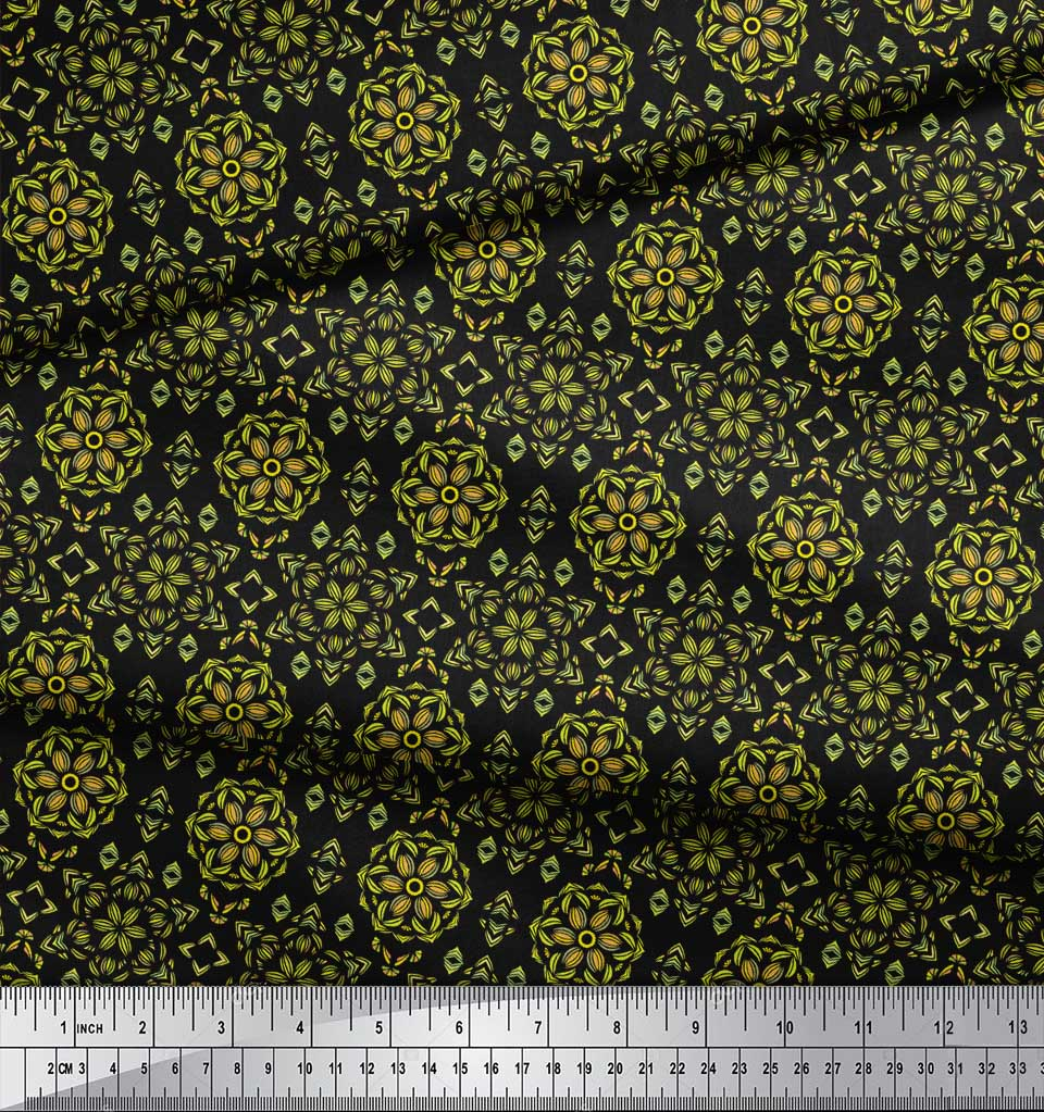 Soimoi-Black-Cotton-Poplin-Fabric-Artistic-Floral-Decor-Fabric-Printed-ndg thumbnail 3