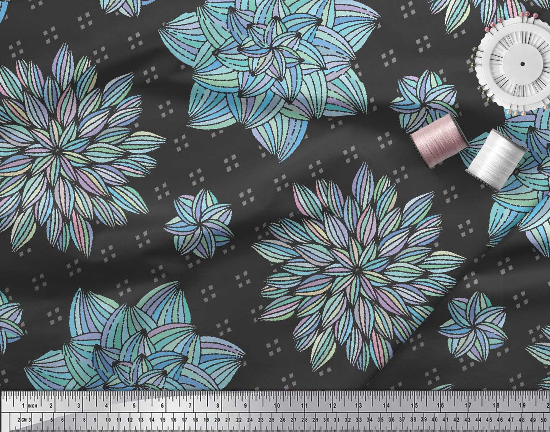 Soimoi-Black-Cotton-Poplin-Fabric-Artistic-Floral-Print-Fabric-by-tmj thumbnail 3