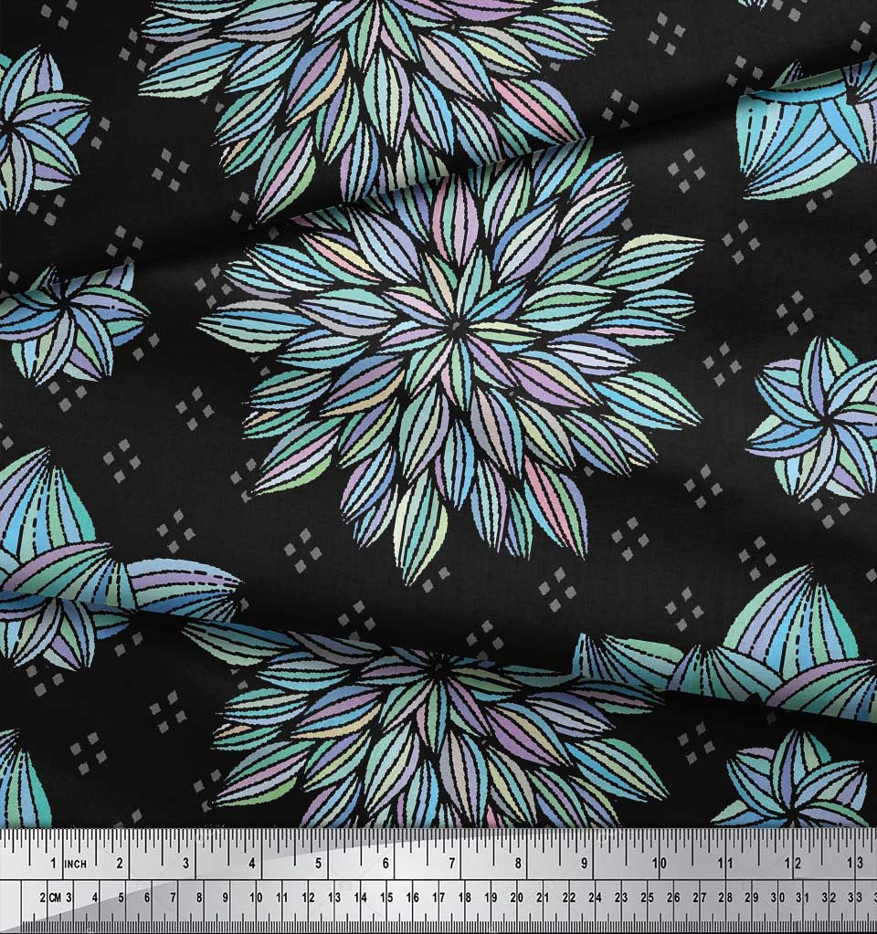 Soimoi-Black-Cotton-Poplin-Fabric-Artistic-Floral-Print-Fabric-by-tmj thumbnail 4