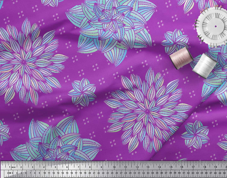 Soimoi-Purple-Cotton-Poplin-Fabric-Artistic-Floral-Print-Fabric-xYk thumbnail 4