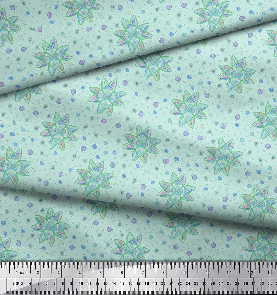 Soimoi-Green-Cotton-Poplin-Fabric-Artistic-Floral-Fabric-Prints-3ag thumbnail 3