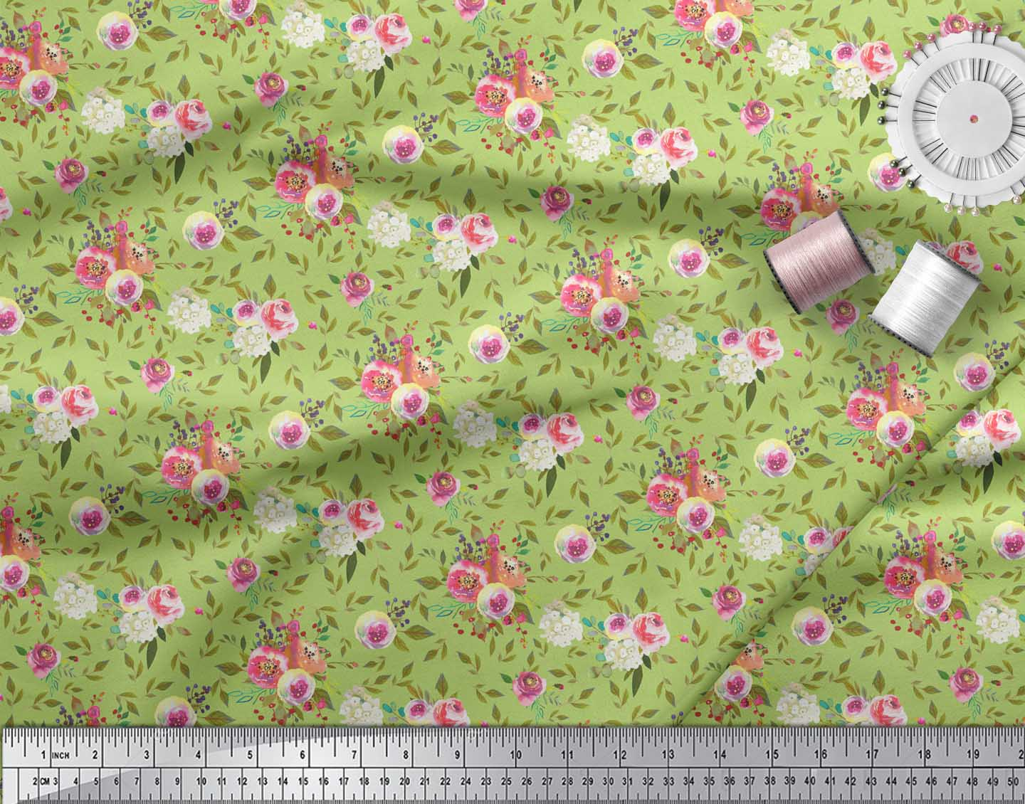 Soimoi-Green-Cotton-Poplin-Fabric-Leaf-Floral-Decor-Fabric-Printed-G5A thumbnail 3