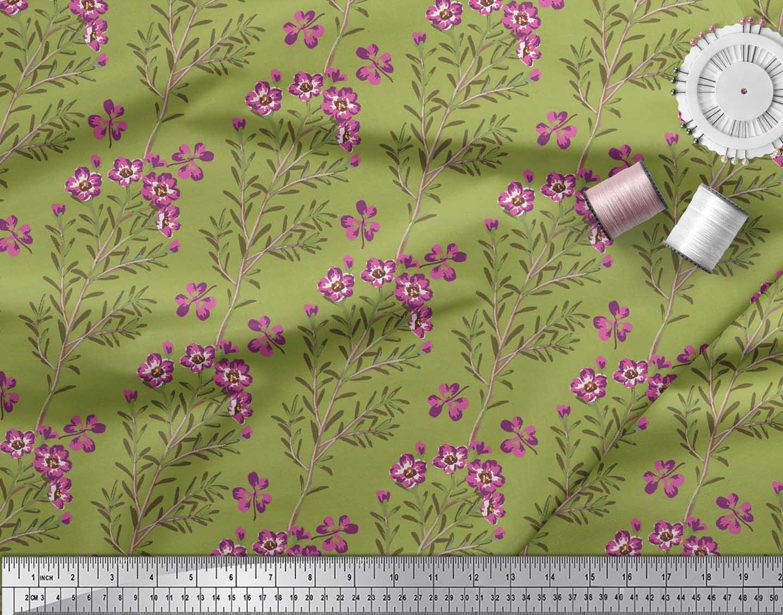 Soimoi-Green-Cotton-Poplin-Fabric-Leaves-amp-Primrose-Floral-Print-cEI thumbnail 3