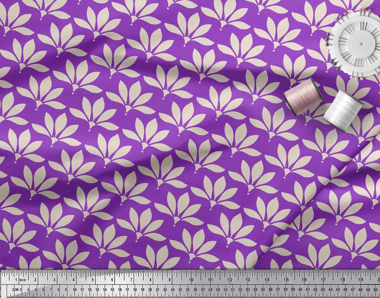 Soimoi-Purple-Cotton-Poplin-Fabric-Artistic-Floral-Print-Fabric-QpL thumbnail 3