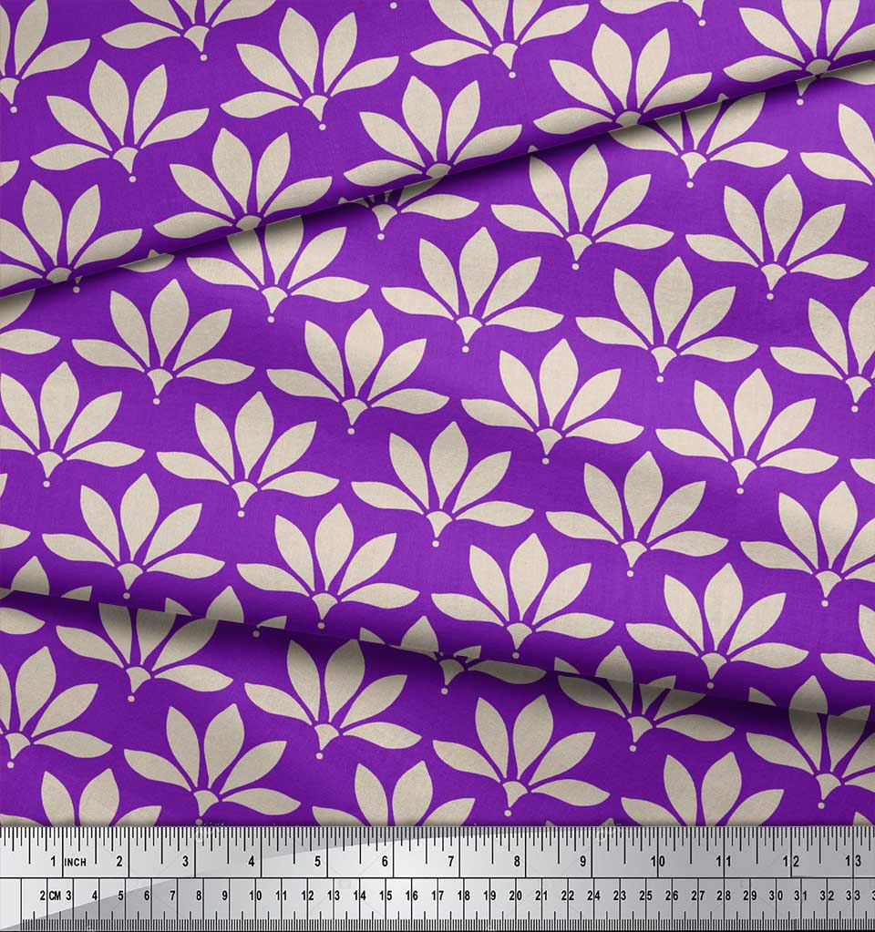 Soimoi-Purple-Cotton-Poplin-Fabric-Artistic-Floral-Print-Fabric-QpL thumbnail 4