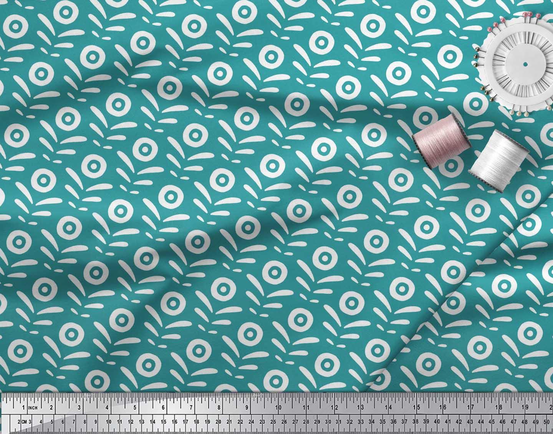 Soimoi-Green-Cotton-Poplin-Fabric-Geometric-Floral-Print-Fabric-Z0K thumbnail 3