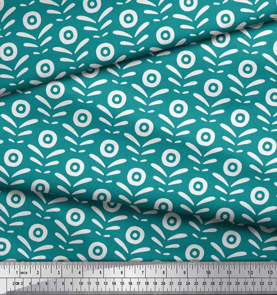 Soimoi-Green-Cotton-Poplin-Fabric-Geometric-Floral-Print-Fabric-Z0K thumbnail 4