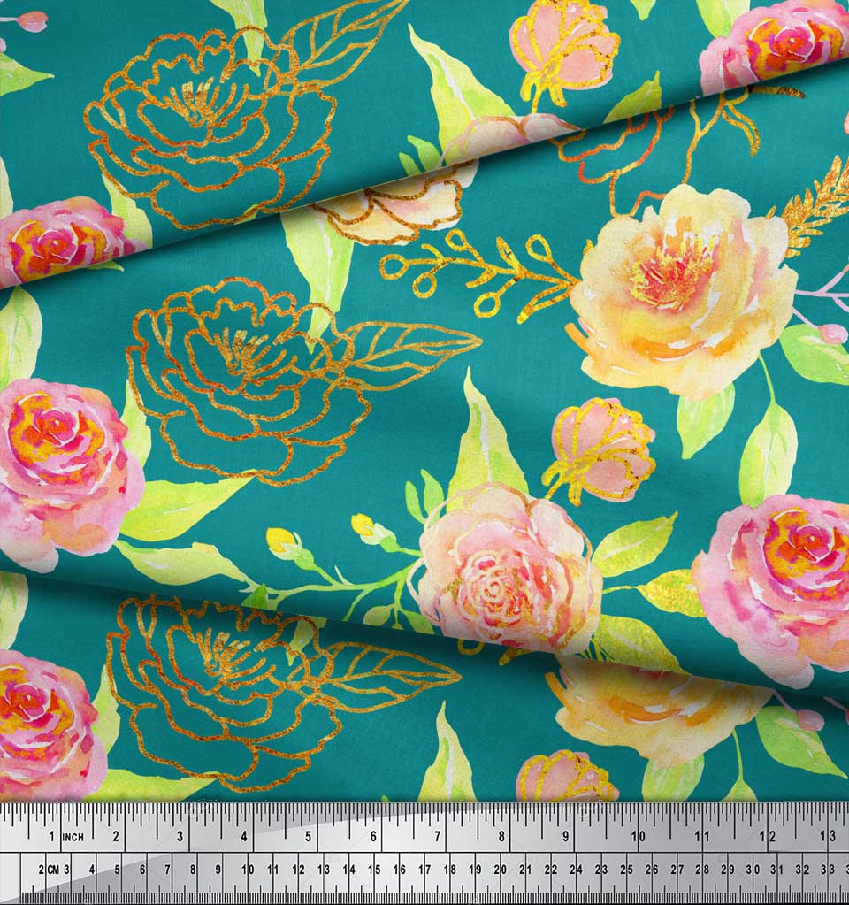 Soimoi-Green-Cotton-Poplin-Fabric-Leaves-amp-Begonia-Floral-Print-ot1 thumbnail 3