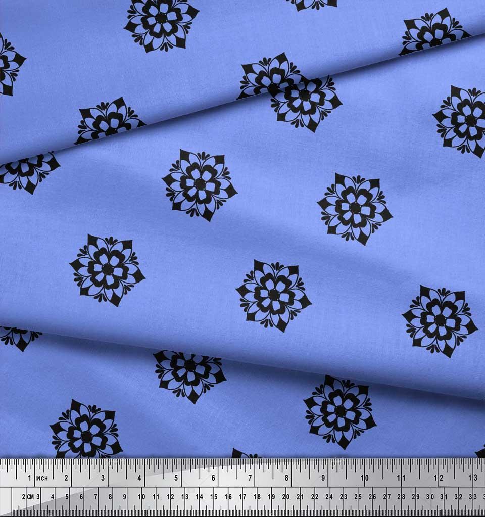 Soimoi-Blue-Cotton-Poplin-Fabric-Artistic-Floral-Decor-Fabric-Printed-wYb thumbnail 3