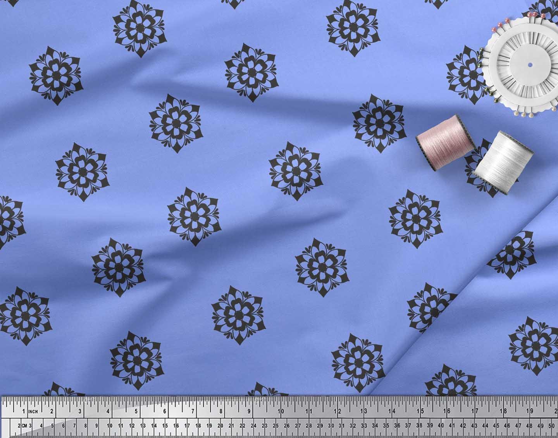 Soimoi-Blue-Cotton-Poplin-Fabric-Artistic-Floral-Decor-Fabric-Printed-wYb thumbnail 4