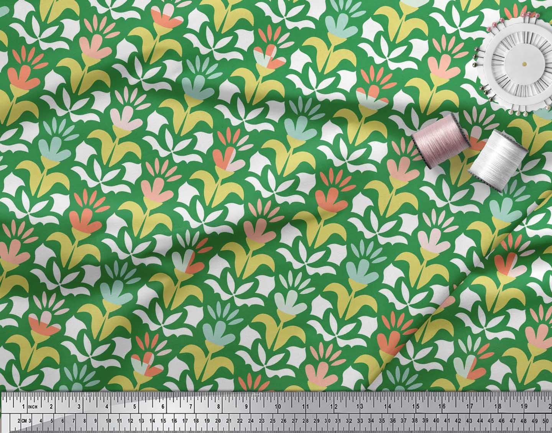 Soimoi-Green-Cotton-Poplin-Fabric-Florals-Floral-Print-Sewing-Fabric-e7D thumbnail 3