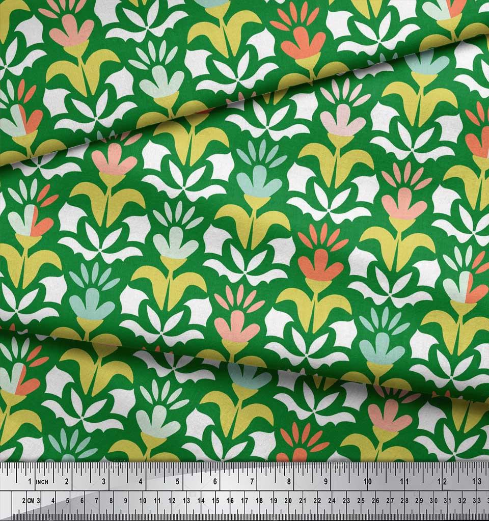Soimoi-Green-Cotton-Poplin-Fabric-Florals-Floral-Print-Sewing-Fabric-e7D thumbnail 4