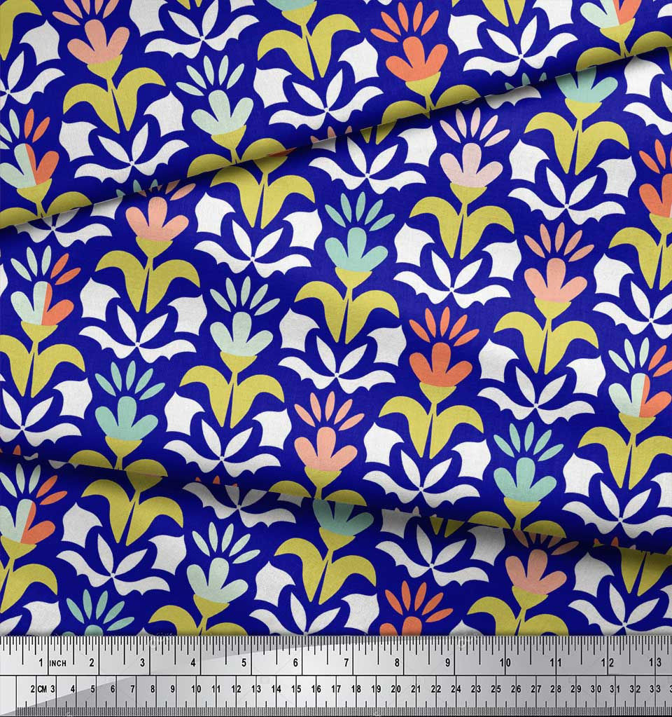 Soimoi-Blue-Cotton-Poplin-Fabric-Florals-Floral-Printed-Fabric-1-9HL thumbnail 3