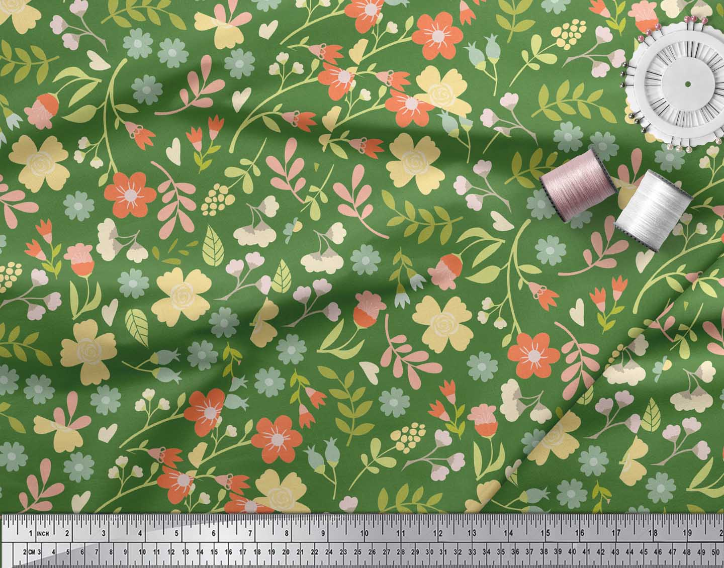 Soimoi-Green-Cotton-Poplin-Fabric-Leaf-Floral-Print-Sewing-Fabric-yOg thumbnail 3