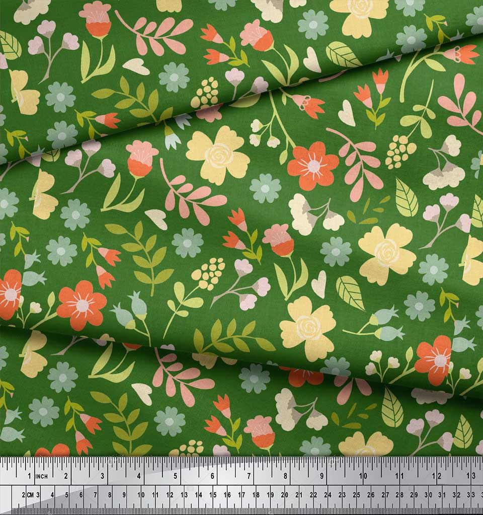 Soimoi-Green-Cotton-Poplin-Fabric-Leaf-Floral-Print-Sewing-Fabric-yOg thumbnail 4