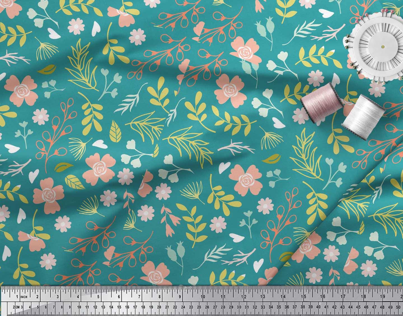 Soimoi-Green-Cotton-Poplin-Fabric-Leaf-Floral-Print-Sewing-Fabric-r0h thumbnail 3