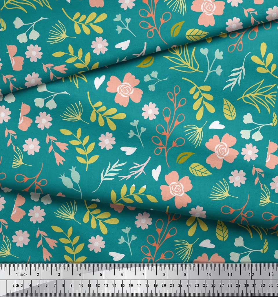 Soimoi-Green-Cotton-Poplin-Fabric-Leaf-Floral-Print-Sewing-Fabric-r0h thumbnail 4