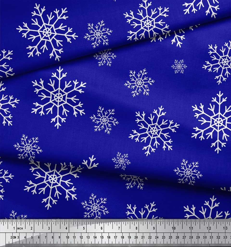 Soimoi-Blue-Cotton-Poplin-Fabric-Snow-Flakes-Floral-Print-Fabric-PjW thumbnail 3
