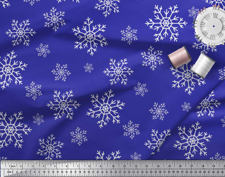Soimoi-Blue-Cotton-Poplin-Fabric-Snow-Flakes-Floral-Print-Fabric-PjW thumbnail 4