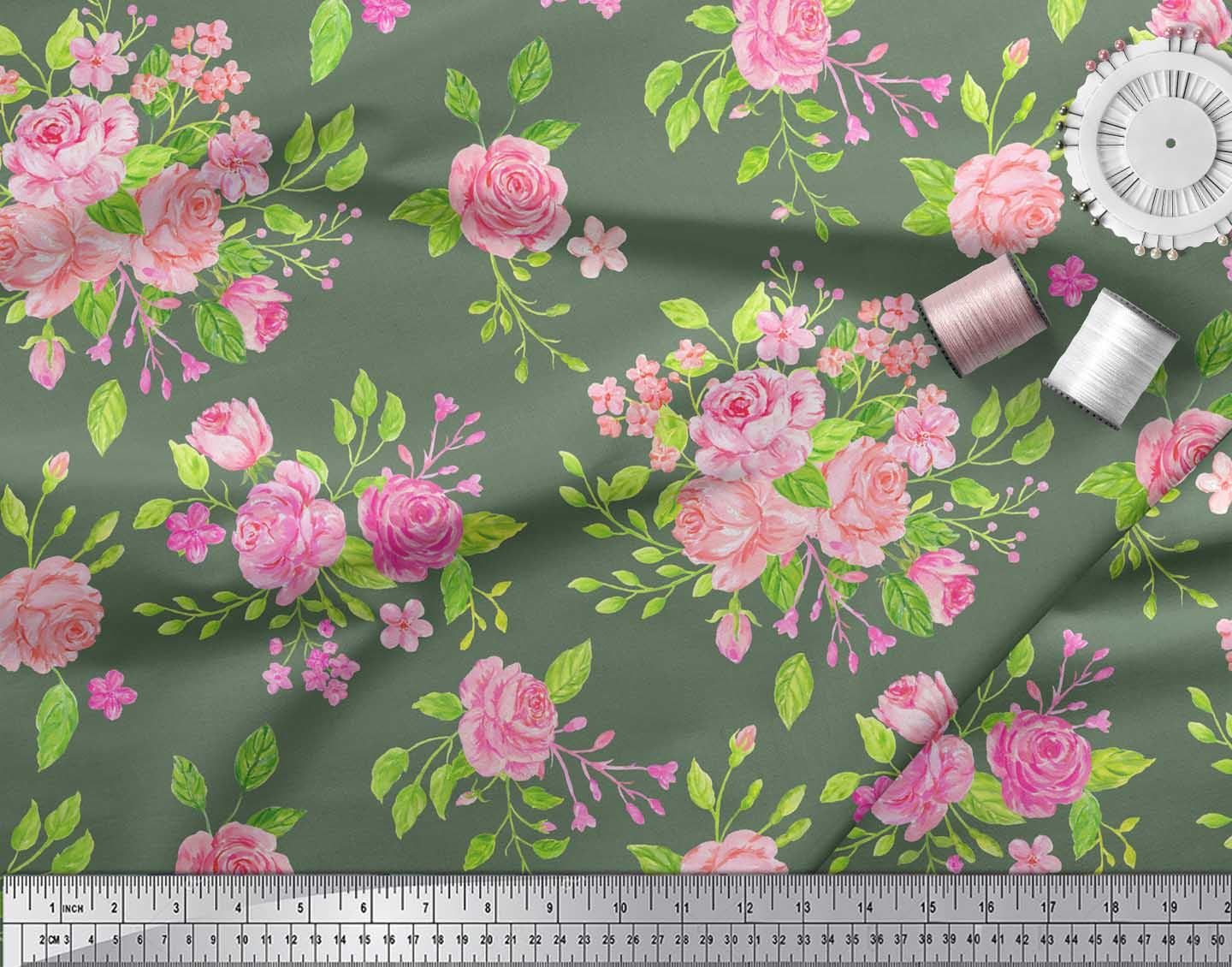 Soimoi-Green-Cotton-Poplin-Fabric-Rose-Floral-Print-Fabric-by-metre-bim thumbnail 3
