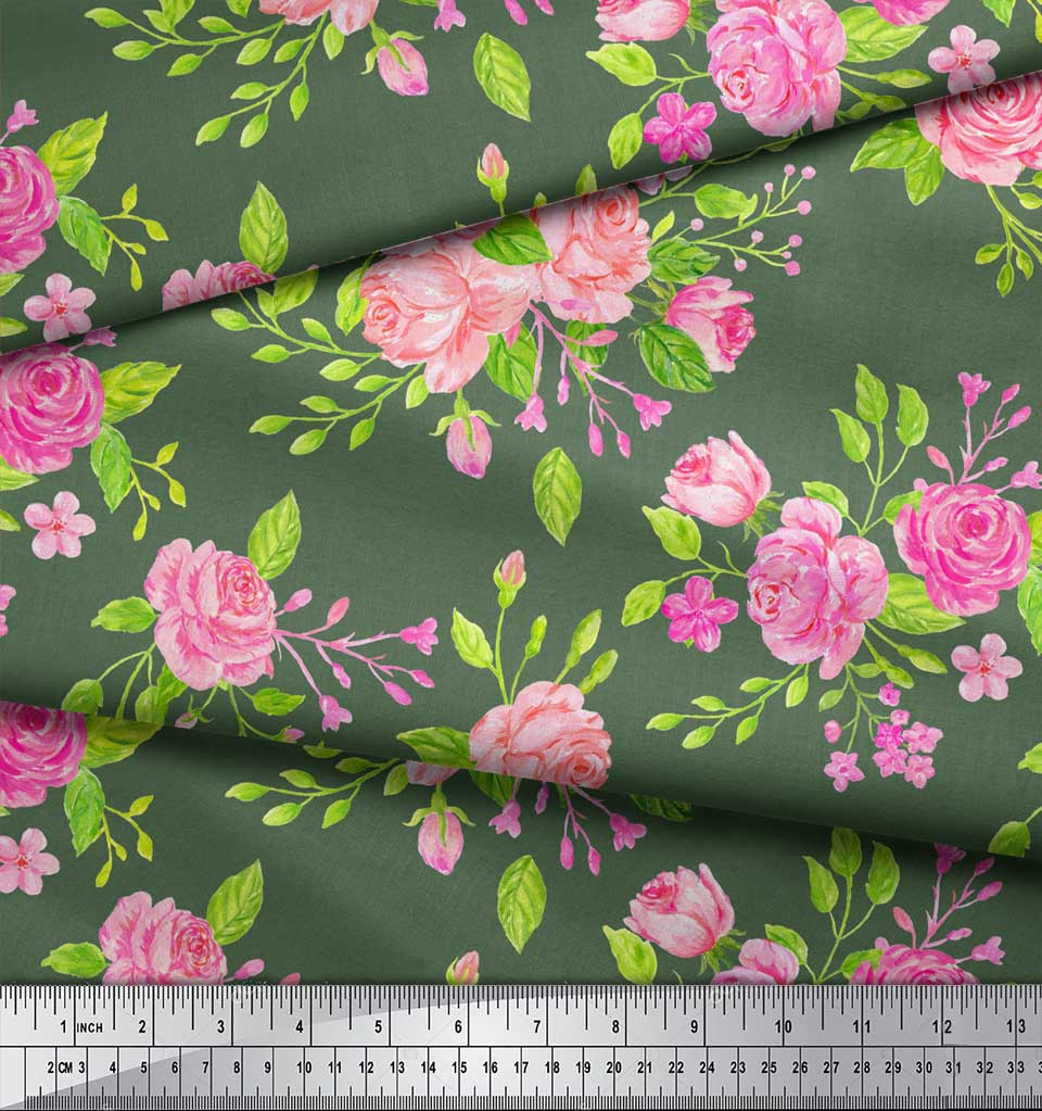 Soimoi-Green-Cotton-Poplin-Fabric-Rose-Floral-Print-Fabric-by-metre-bim thumbnail 4