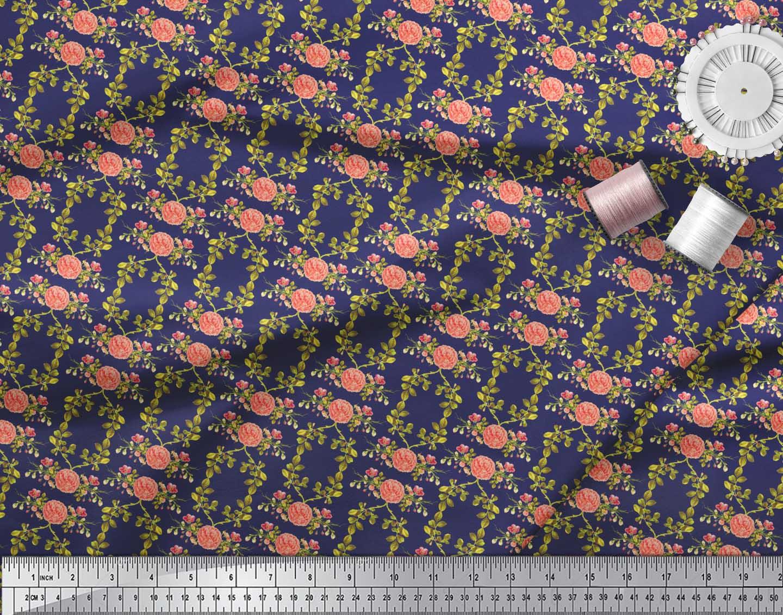 Soimoi-Blue-Cotton-Poplin-Fabric-Leaves-amp-Begonia-Floral-Print-Fabric-7ds thumbnail 3