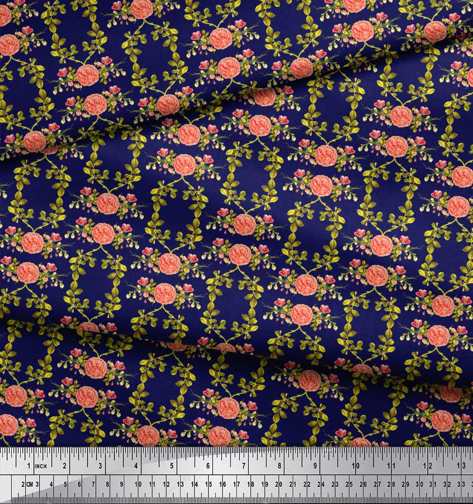 Soimoi-Blue-Cotton-Poplin-Fabric-Leaves-amp-Begonia-Floral-Print-Fabric-7ds thumbnail 4