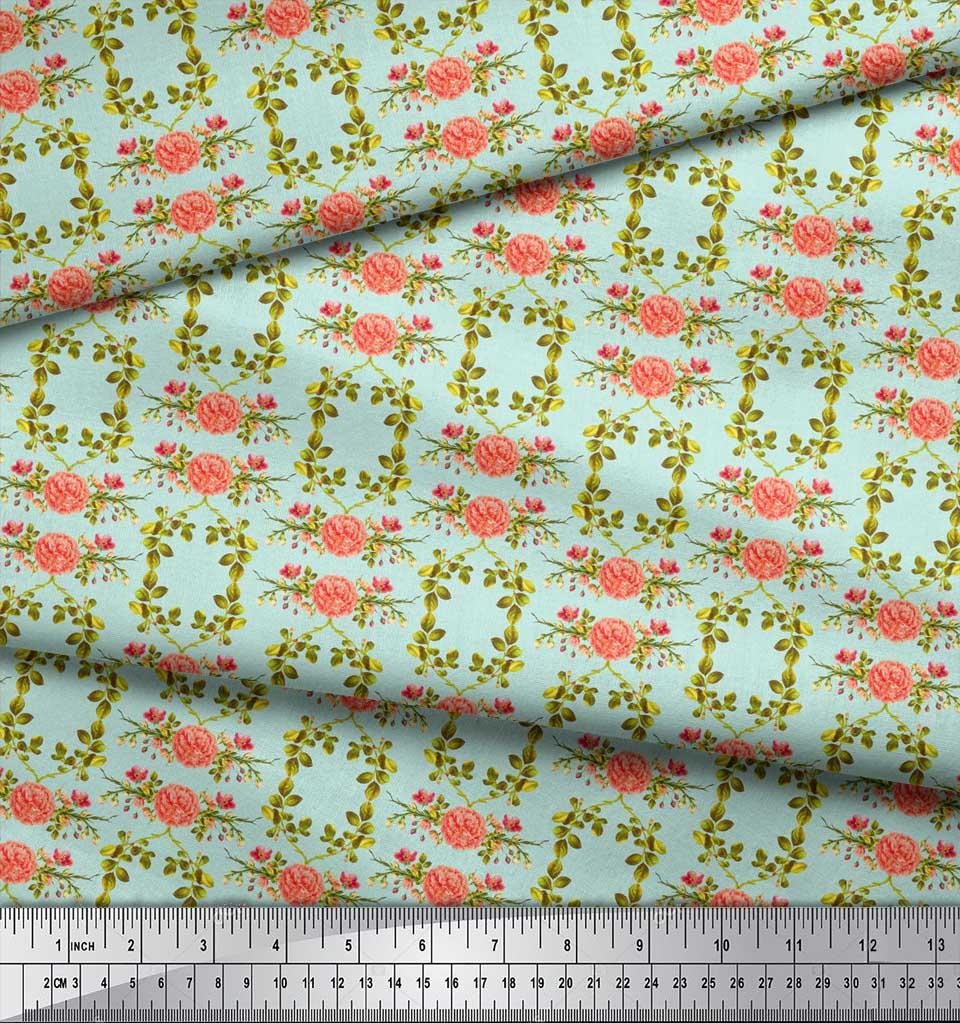 Soimoi-Green-Cotton-Poplin-Fabric-Leaves-amp-Begonia-Floral-Print-st9 thumbnail 4