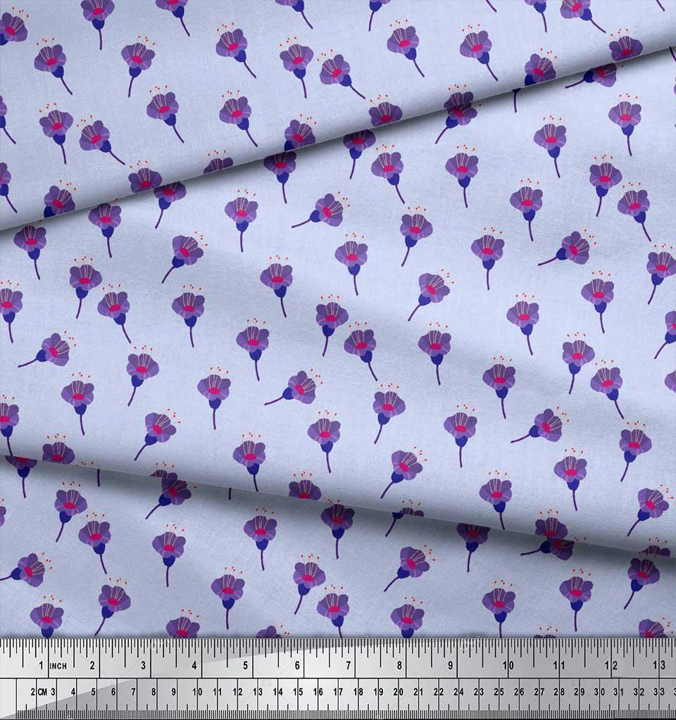 Soimoi-Blue-Cotton-Poplin-Fabric-Freesia-Floral-Decor-Fabric-Printed-KMB thumbnail 3