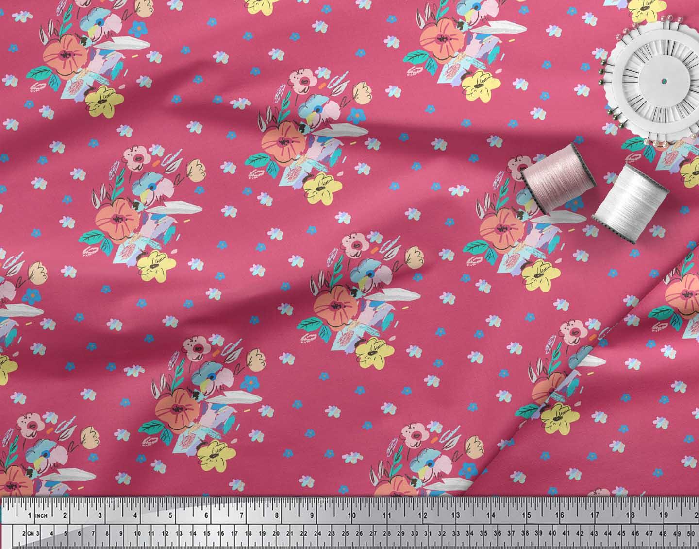 Soimoi-Pink-Cotton-Poplin-Fabric-Artistic-Floral-Printed-Fabric-wvR thumbnail 3