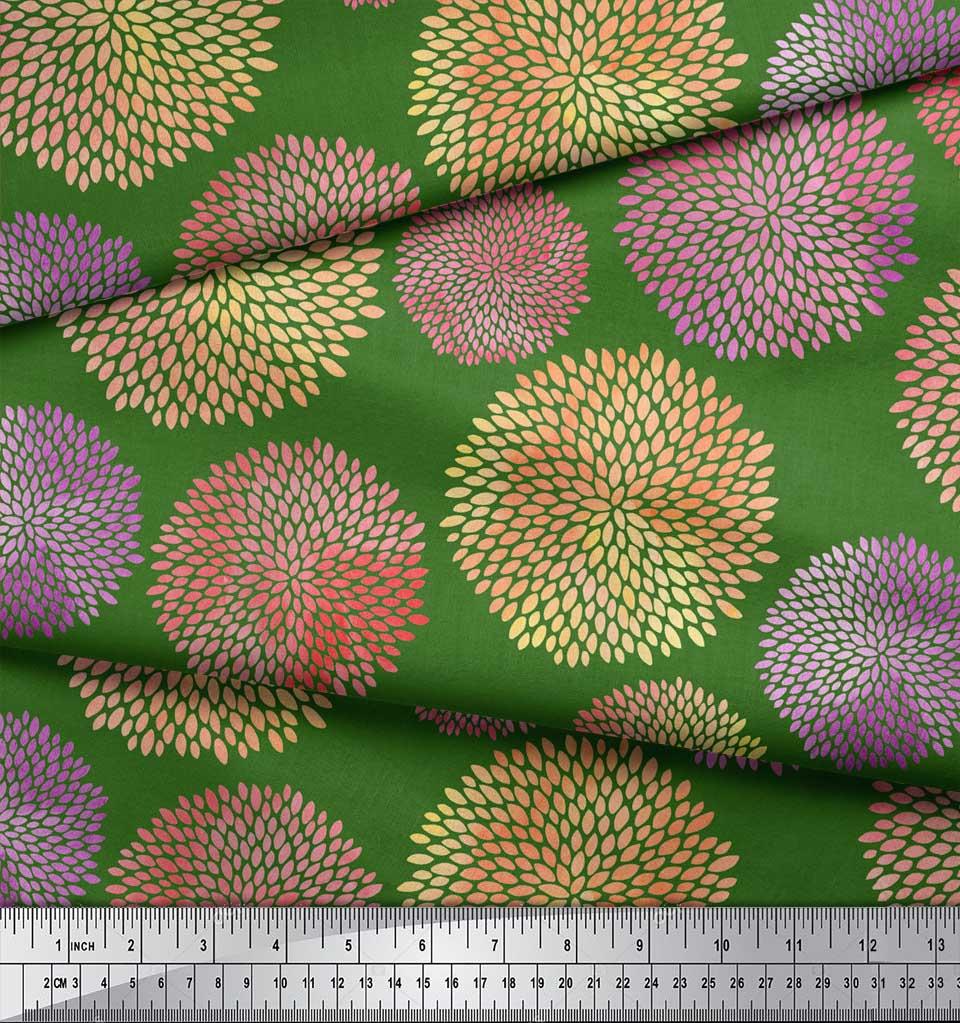 Soimoi-Green-Cotton-Poplin-Fabric-Artistic-Floral-Print-Fabric-by-QfD thumbnail 3