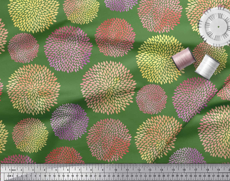 Soimoi-Green-Cotton-Poplin-Fabric-Artistic-Floral-Print-Fabric-by-QfD thumbnail 4
