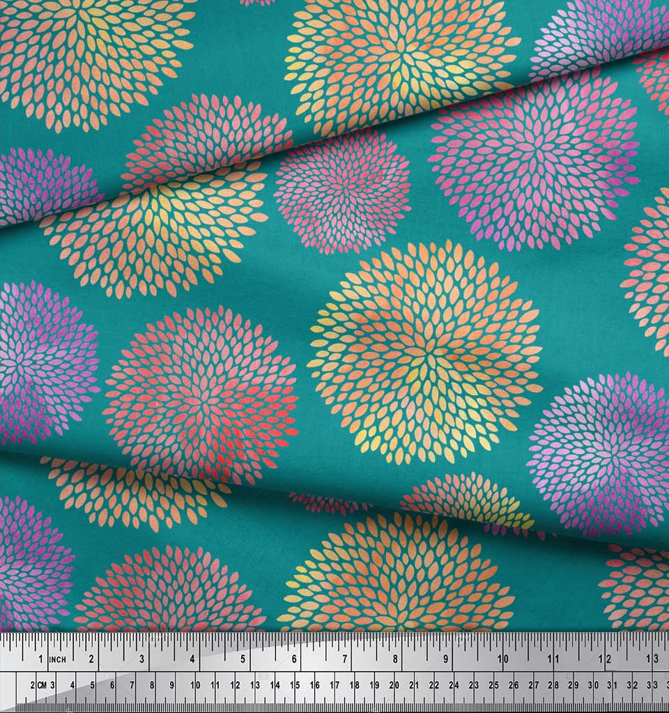 Soimoi-Green-Cotton-Poplin-Fabric-Artistic-Floral-Print-Fabric-by-lON thumbnail 4
