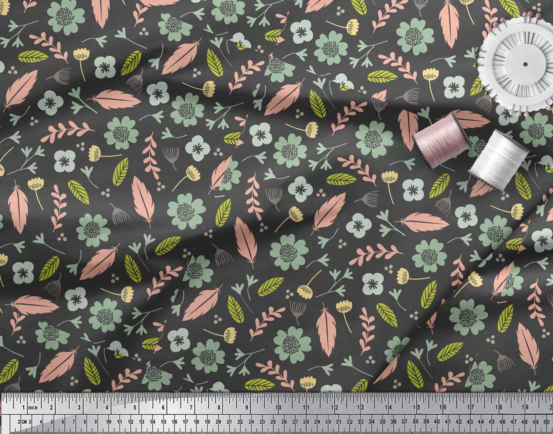 Soimoi-Gray-Cotton-Poplin-Fabric-Leaves-amp-Flower-Printed-Fabric-ruB thumbnail 3