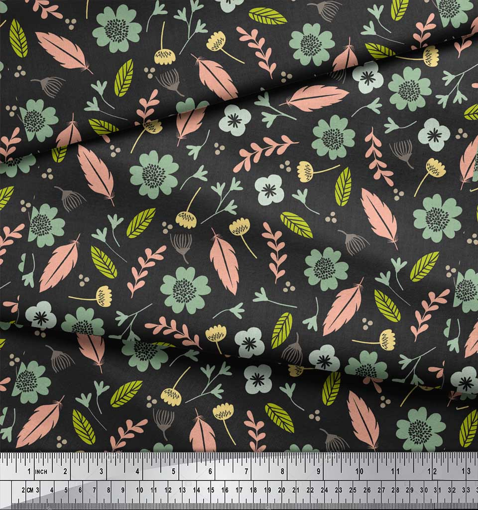 Soimoi-Gray-Cotton-Poplin-Fabric-Leaves-amp-Flower-Printed-Fabric-ruB thumbnail 4