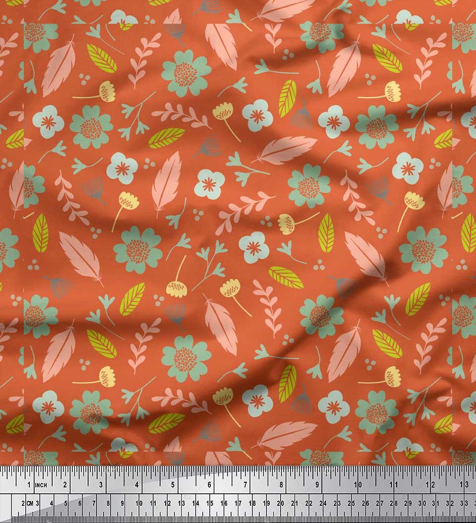 Soimoi-Orange-Cotton-Poplin-Fabric-Leaves-amp-Flower-Print-Fabric-Jwr