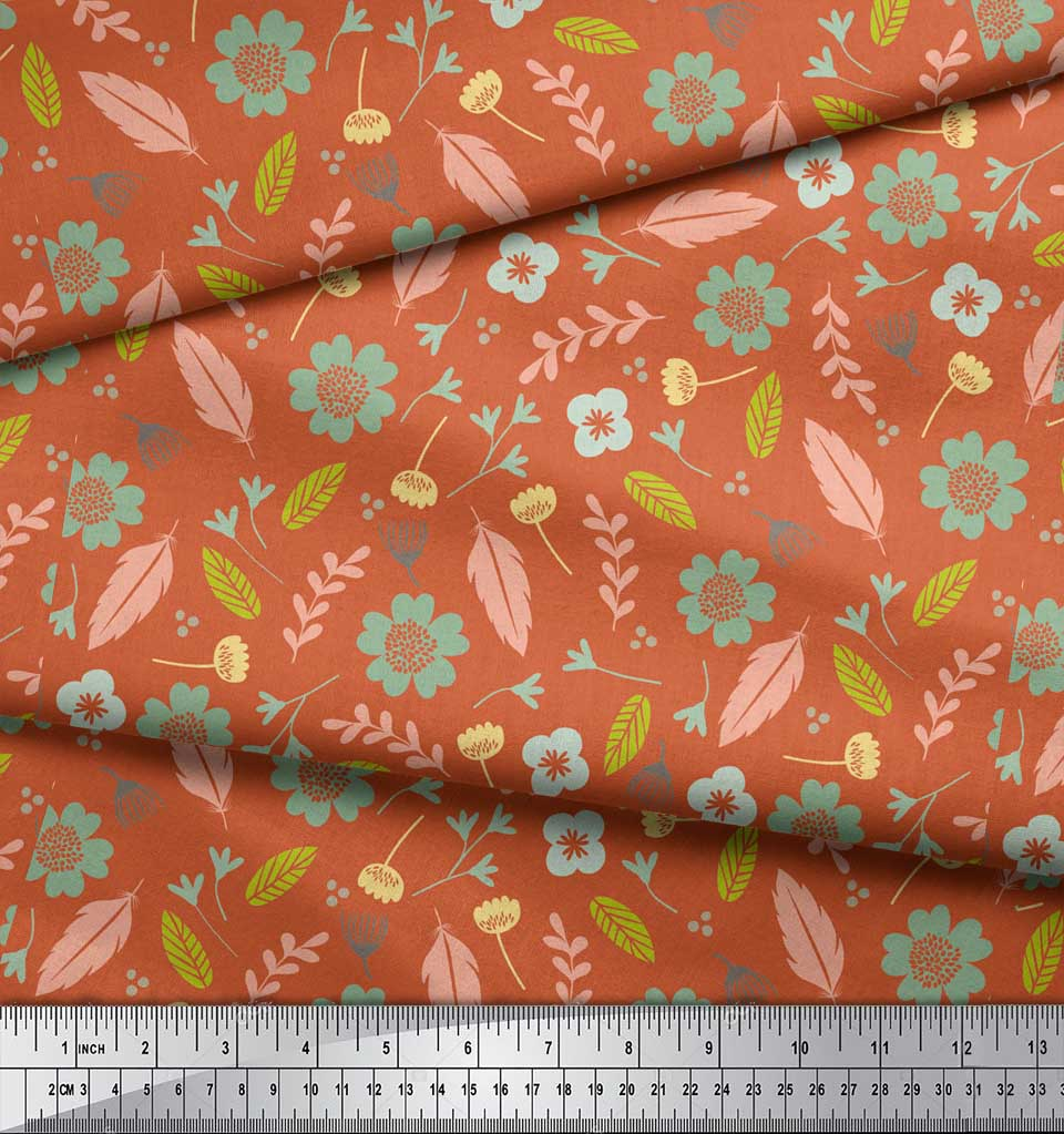 Soimoi-Orange-Cotton-Poplin-Fabric-Leaves-amp-Flower-Print-Fabric-Jwr thumbnail 4